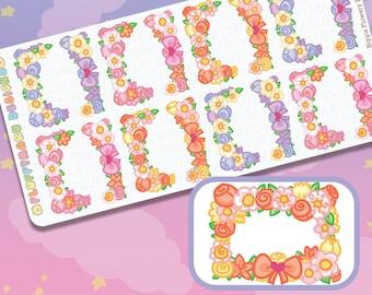 Biggie Flowery Border Deco Set    planner stickers, cute stickers for Erin Condren (ECLP), Filofax, Kikki K, Etc.    BSS26