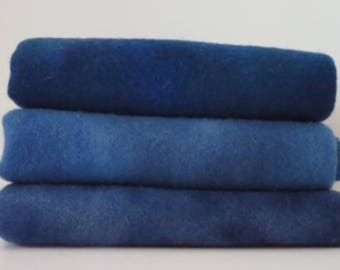NEW BLUES  hand dyed and felted wool for rug hooking and other fiber arts projects
