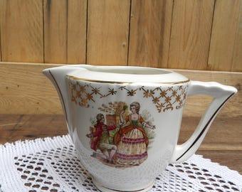 Antique french Renaissance pattern vintage Creamer milk jug, shabby chic vintage Creamer 1940