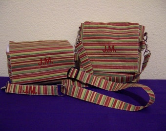 Insulated Sandwich Pouch w/crossbody strap, Lunch Bag and Key Fob combo