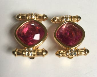 Swarovski Earrings Pink Crystal  clip ons ex condition clipons