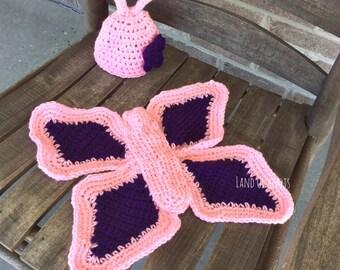 Crochet butterfly outfit, newborn butterfly cape, crochet butterfly hat, newborn butterfly cape, newborn butterfly photo prop.