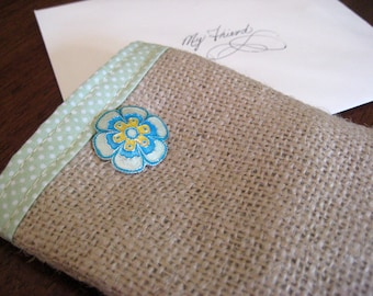 Petite Burlap Bag - lined with button closure