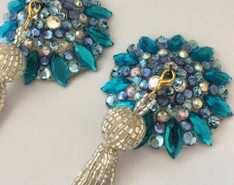 Light blue pasties onsilver base with removable silver beaded tassel