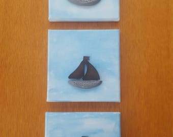 Wooden sail boat on canvas, set of three