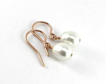 Dainty Rose Gold Pearl Earrings, Simple Rose Gold Earring Drops, Freshwater Pearl Earrings Rose Gold, Natural Silvery White Pearl Earrings