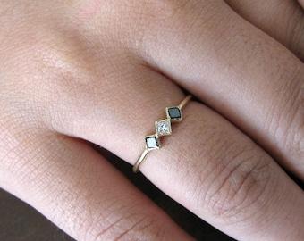 Princess Ring 14k Diamond Black And White Solid Gold, Wedding Ring Diamond, Engagement Ring, Promise Ring, Anniversary Ring, PrincessDiamond