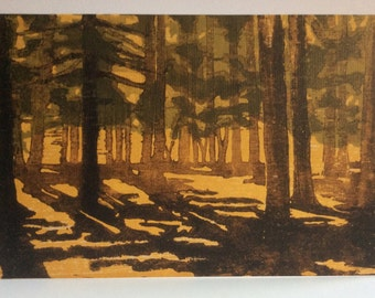"Art Greeting Cards (5""x7"") ""Wakanda Pines"" from my original Moku Hanga Woodcut Print  (4 cards and envelopes)"
