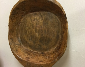 Very Large Wooden Rustic Handcarved Bowl