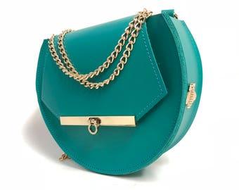 Loel mini military bee chain bag clutch in Teal
