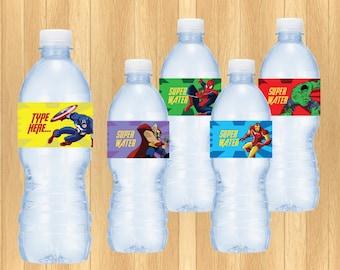 INSTANT DOWNLOAD - EDITABLE Avengers Water Bottle Label