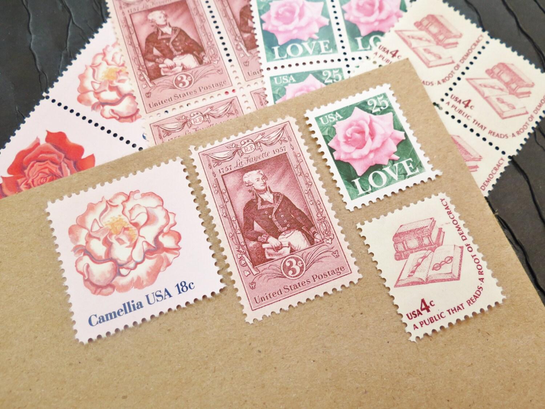 Pink .. LOVE .. UNused US Vintage Postage Stamps .. post 5