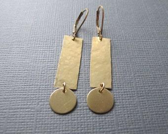 Brass Geometric Earrings, 14k Gold Filled Lever Back