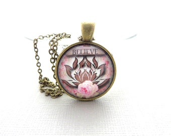 Lotus Necklace Yoga Jewelry Lotus Pendant Namaste Pendant  Zen Believe Spiritual Vintage Necklace Glass Pendant Mother's Day Unique Gift
