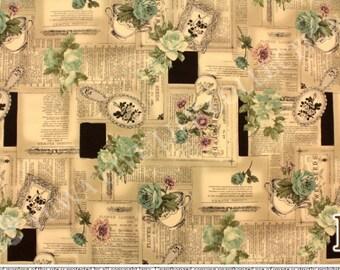 Yuwa Fabric, English Afternoon Fabric, Hand Mirror - Suzuko Koseki 826148 F - Vintage Tan & Green - Priced by the 1/2 yard