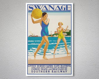 Swanage, Southern Railway, England Vintage Travel Poster - Poster Paper, Sticker or Canvas Print / Gift Idea