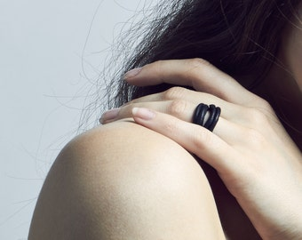 """Black Leather Ring / """"Driftwood"""" EXCLUSIVE CREATION"""