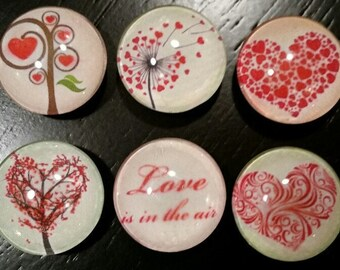 "Valentine magnets set of 6, ""Love is in the air"", 1"" round glass cabochons, Free Ship in US, party favors, Valentine's, office, gift, fridge"