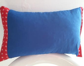 Cushion cover 45 x 25 cm Blue and Red patterns anchors