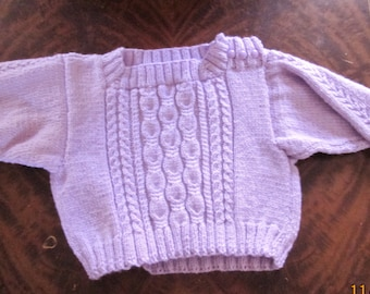 infant purple cable paneled pullover