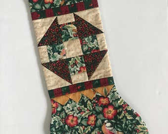 "Handmade Christmas Stocking Churn Dash Quilted Lined 22"" Patchwork Floral"