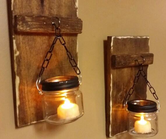 Hanging Candles Holders Mini Wood Candles Rustic Mason Jar