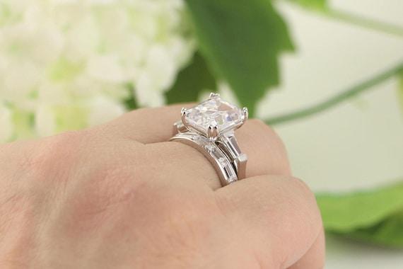 72ctw Wedding Ring Set 5 Carat Emerald Cut Ring Engagement