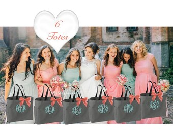 6 bridesmaid Totes , Bridesmaid Gifts, Bridesmaid Tote Bag, Personalized Wedding Bag, Bridal Party Gift, Monogrammed Totes