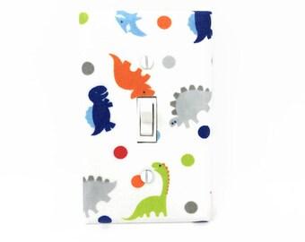 Dinosaur Light Switch Cover - Boys Dinosaur Decor - Dinosaurs Switch Plate - Dinosaur Bedroom - Blue Orange Green Grey Dinosaurs