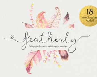 Script font - featherly Font - Calligraphy font - elegant typeface Wedding font - photography logo