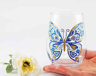 Butterfly glass, Nature lover, Butterflies, Mother's Day gift, Spring, Blue butterfly, Hand painted stemless wine glass