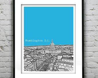 Washington DC Poster Skyline  Print Art Capitol Building Item T1307