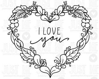 valentine heart wreath digital stamp