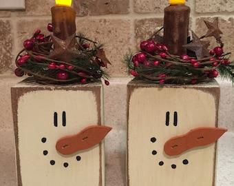 Snowman Primitive Block Candle