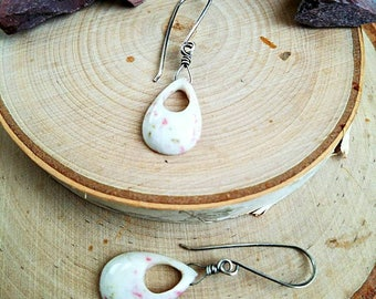 Earrings-Drops-Cinnebar-Tear Drop-Sterling Silver-Wire Wrapped-White-Pink-Green-Excellent Quality-Unique-One Of A Kind-OOAK-Gift-Handcrafted