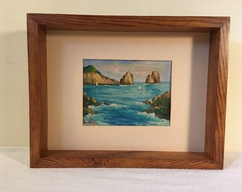 Vintage Oil on Board Seascape Painting w/ Oak Frame & Matt Signed
