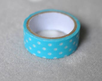 Washi tape masking tape paper sky blue with white polka dots