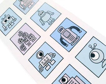 Robot Card (blues) - blank inside, tall card with 8 boxes featuring cute robot designs, great for geeks
