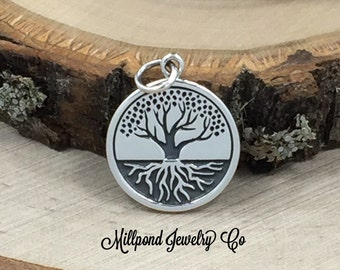 Tree With Roots Charm, Tree of Life Pendant, Tree of Life Charm, Family Tree Pendant, Family Tree Charm, Sterling Silver, PS01460
