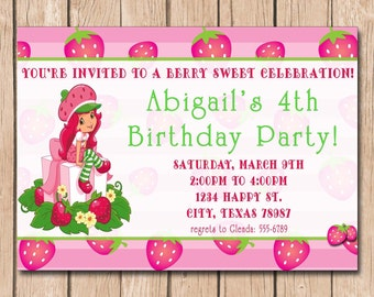 Strawberry shortcake invitation Etsy