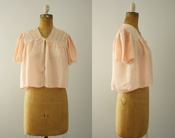 1940s bed jacket | vintage 40s peach top