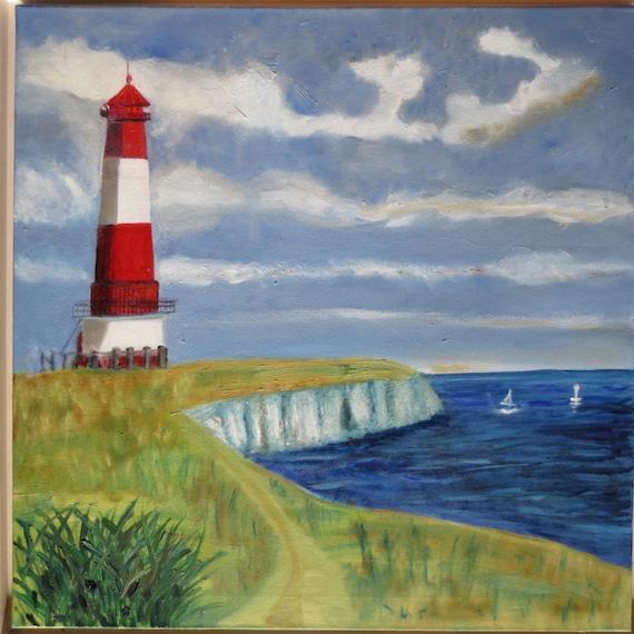 Ähnliche artikel wie leuchtturm Ölfarbe gemalt