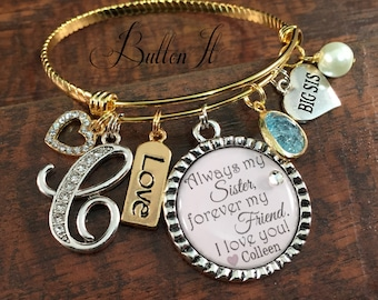 Sister gift, Big sister, SISTER jewelry, Gifts for sister, MIXED metal jewelry, GOLD bangle, Mother's day gift, sister birthday, Charm,Love