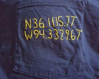 Hand Embroidered Custom Latitude and Longitude Pocket Tee Shirt