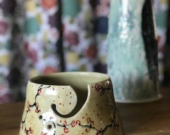Yarn Bowl Knitting Bowl Cherry Blossom Amber  Floral Bowl Gift