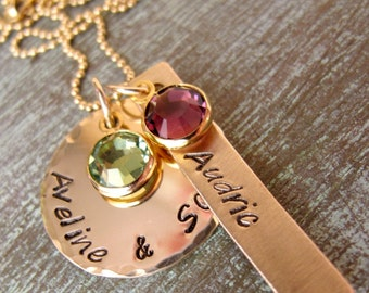 Hand Stamped Gold Grandmother Necklace, Personalized Mother's Necklace, Birthstones, Mommy, Nana, Grandma, For Her