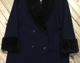 Double Breasted Wool Coat with Fur Trim