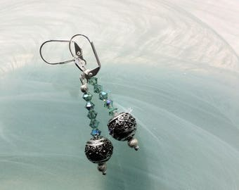 Silver-plated Filigree Bead Earrings with Swarovski Crystals Erinite