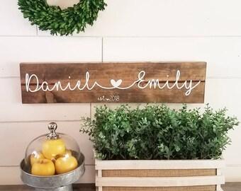 Custom Name Sign, Wedding Gift, Personalized Wedding Gift, Wedding Sign, Rustic, Farmhouse, Vinyl, Gifts under 30, Wood Sign, Custom Sign