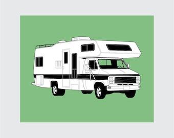Vintage Camper, RV Art Print, 8x10 PRINTABLE, Instant Download, Digital